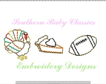 Thanksgiving Row Turkey  Pumpkin Pie Football Design Vintage Quick Stitch File for Embroidery Machine Instant Download Autumn Fall