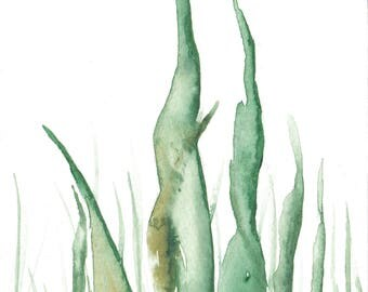 Original 4 x 5.5 inch watercolor painting of grass