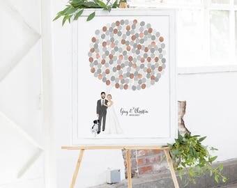 Rose Gold Wedding Guest Book Alternative - Illustrated Couple Balloon Guest Book - Fun Wedding Guest Book Alternative Idea