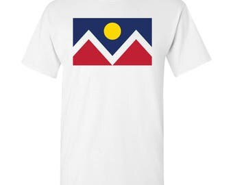 Denver City Flag T Shirt - White