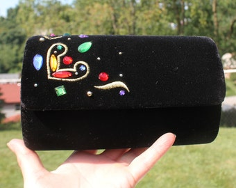 Black Velvet Bejeweled Purse / Evening Bag by Carolyn Barton Night - Barrel Purse