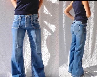 NOS 90s Hippie Grunge Jeans | Retro Hip Hugger Jeans. Hippie Bell Bottoms. 90s Flare Leg Jeans. Top Stitching Embroidered Jeans. 1990s Jeans