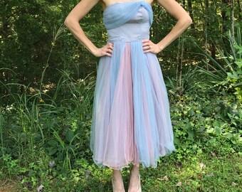 Vintage Handmade 50's Tulle Tea Dress
