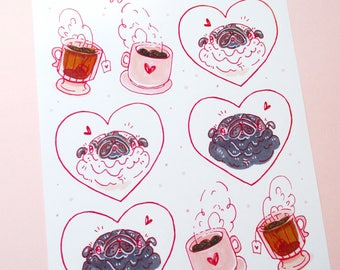 Coffee, Tea & Pugs, FUN Sticker Sheet, Pug Lover Gift, Pink, Red, Black and White Pug Stickers, Cute Pug Gift