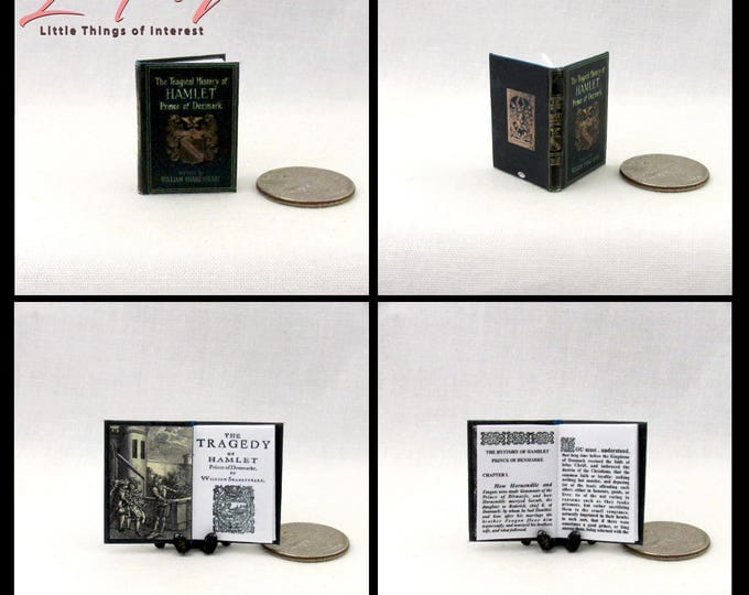 HAMLET A TRAGEDY Miniature Book Dollhouse 1:12 Scale Readable Book by William Shakespeare