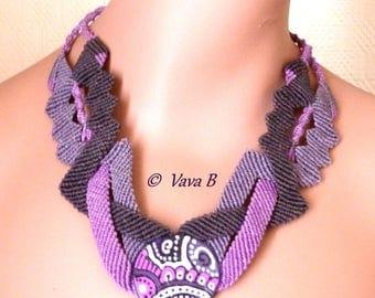 Micro-macrame necklace handmade cabochon - ref C. 0174
