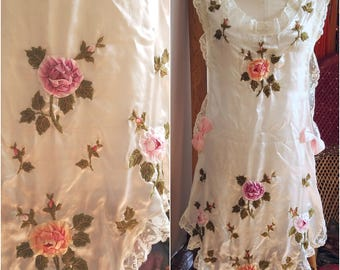 Afternoon Tea antique vintage silk ribbon embroidery apron pinafore 1910s 1920 sweet floral embroidered victorian