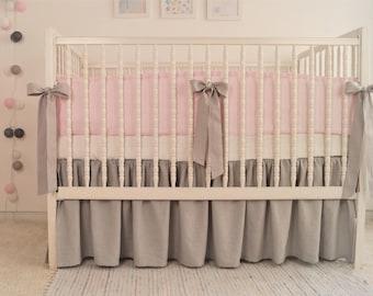 Crib  bedding - linen crib bedding -  skirt and bumper - girl crib bedding, gray with pink