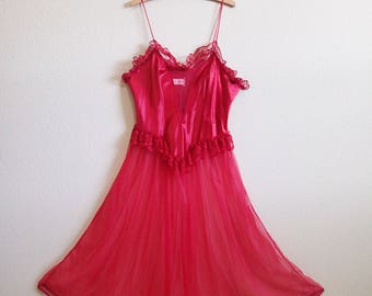 Red Satin Sheer Nightgown Large Lace