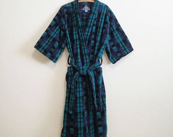 Blue Green Terry Cloth Cotton Robe One Size - 100% Egyptian Cotton - One Size