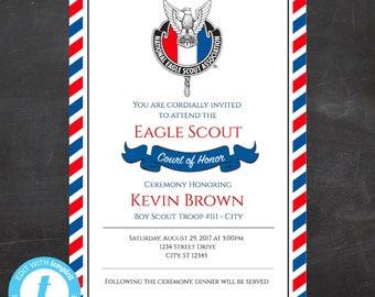 EDITABLE - Eagle Scout  - Court of Honor Invitation -  Boy Scout Invitation -  Custom Printable
