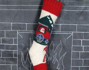 Knitted Train Christmas Stockings / Personalized Wool Christmas Stocking / Vintage Bernat Christmas Stocking / Embroidered Wool Stocking