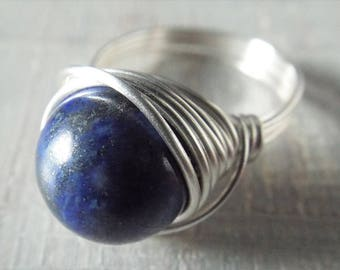Large Lapis Lazuli Ring, Blue Stone Ring, Lapis Jewelry, Statement Ring, Chunky Ring, Cobalt Blue Ring, Wire Wrapped Ring, Sterling Silver