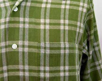 Vintage 1960s Green Plaid Perma-Prest Button Up Shirt by Sears Size Medium