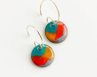 Handmade Copper Enamel Earrings, Colorful Earrings, Boho Jewelry, Unique Gift for Her, Court Jester Earrings, Dangle Earrings, Gift Under 25