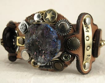 488 Steampunk Burning Man Celestial Bracelet Recycled Jewelry Machine Age