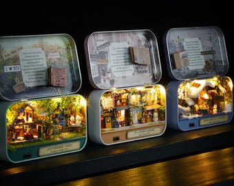 Box Theatre with Light*Countryside/High street/Cosy winter cottage/ DIY Handcraft Miniature Project* Dollhouse Kit* Doll house* Gift