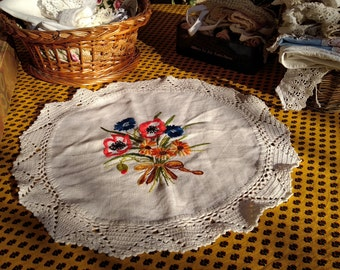 Vintage French White Hemp Doily Floral Bouquet Hand Embroidered Noun Daisy Poppy Hand Crocheted Lace Trim Table Center #sophieladydeparis