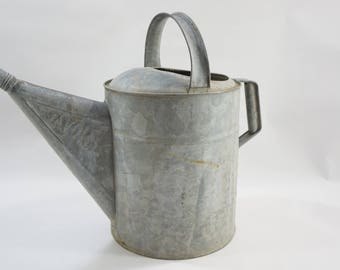 Galvanized Watering Can, Vintage Metal Watering Can, Sprinkling Can, Garden Tools, SAVORY Star Metal Watering Can, Cool Spout Tip Free Ship