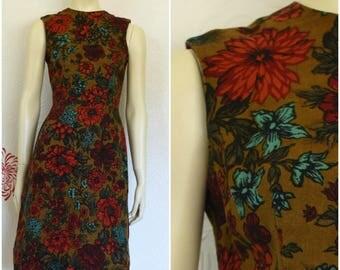Vintage Sheath Dress   Brown Dress   Floral Dress   Short Dress   Shift Dress   Floral Print Dress   Sleeveless Dress   Short Floral Dress