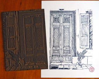 """Original linocut """"Porte Troyenne"""""""