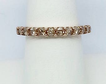 Champagne Diamond .80ctw Round, 10k Rose Gold Ring sz 8