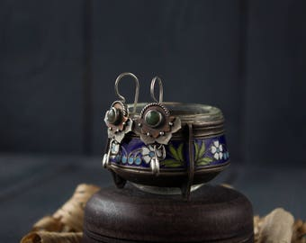silver earrings Agate Lotus, Lotus Silver bohemian earrings,green agate earrings boho, ethnic silver earrings Lotus, tibetan silver earrings