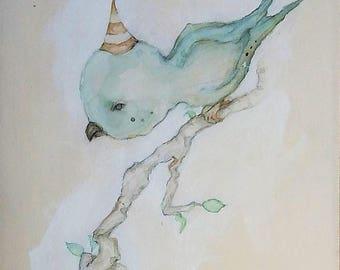 Watercolor painting, Bird painting, petuqui painting