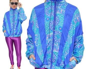 Vintage 80s Avait Sportif Multi-Color Windbreaker Jacket