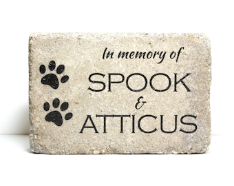 Pet Memorial Stone for Multiple Pets. 6x9 CUSTOM Burial Marker. Tumbled (Concrete) Paver Stone. Outdoor or Indoor Dog or Cat Memorial Stone.