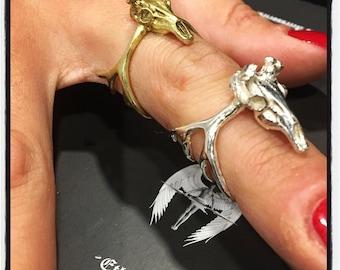 Sterling Silver Stag Antler Ring Silver Elk Antler Ring Silver Moose Antler Ring Silver Moose Skull Ring Stag Skull Ring Silver Elk Skull