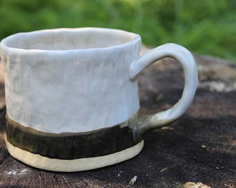 Ceramic Mug. Handmade Mug. White and Chicory Mug. Father's Day Gift.