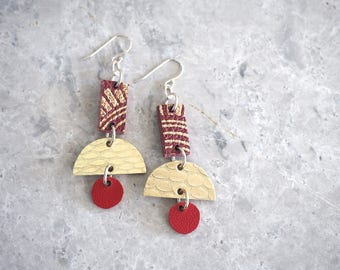 Red Statement Earrings - Leather, Handmade Red and Gold Jewelry, Modern Funky Earrings