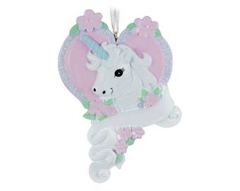 FREE SHIPPING Unicorn Personalized Christmas Ornament / Unicorn with Heart / Gift for Girl / Custom Name or Message