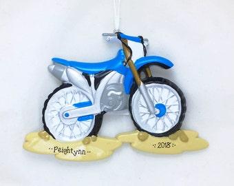 Blue Dirt Bike Christmas Ornament / Bike Ornament / Personalized Christmas Ornament / Cycling Ornament