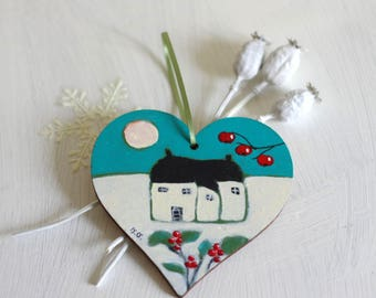 Turquoise Christmas Decoration,  Hanging Heart, Cottage Art, Christmas Ornament, Hand painted Decoration, Tree Decoration, Tree Ornament