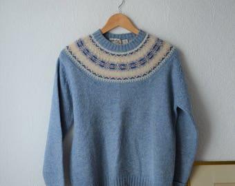 Vintage Fair Isle Shetland Wool Sweater, 1970's, Women's L