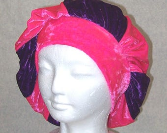 Beret Hot Pink and Purple Stretch Crushed Velvet Slouchy Full Head Cap  - Slip On Cap Hat Turban Costume Party Cheshire Cat