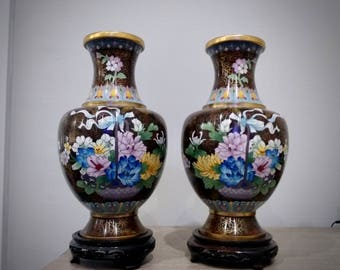 Large Pair of Cloisonne Vases, Fengweizun Baluster style vases, Chinese Cloisonne, Huge Vases with stands, floral cloisonne