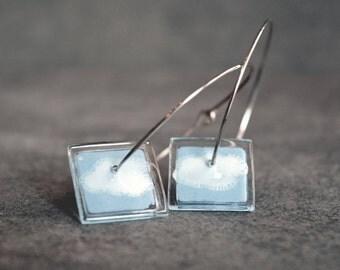 Cloud earrings, Sterling silver and fused glass, Cool large hoop earrings, Alternative jewelry