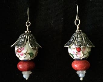 Coral and Bead Earrings