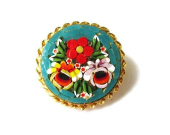 Italian Micro Mosaic Pin/ Round Teal Green  Micromosaic Brooch/ Pink Floral Gold Tone  / Yellow  Red Flowers Roped Bezel