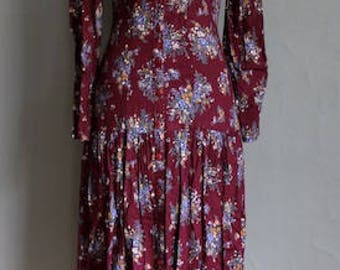 Gunne Sax Floral and Lace Midi Prairie Dress Flowers Long Sleeves Folk Jessica McClintock