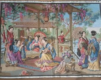 Tapestry Vintage Gobelins Belgium Japanese Japonais Geisha Vintage 25 x 35 Inches Excellent Condition
