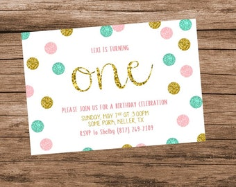 Pink and Gold First Birthday Invitation, Pink Gold and Mint Birthday, Pink and Teal Birthday, Glitter Birthday Invitation, Digital File