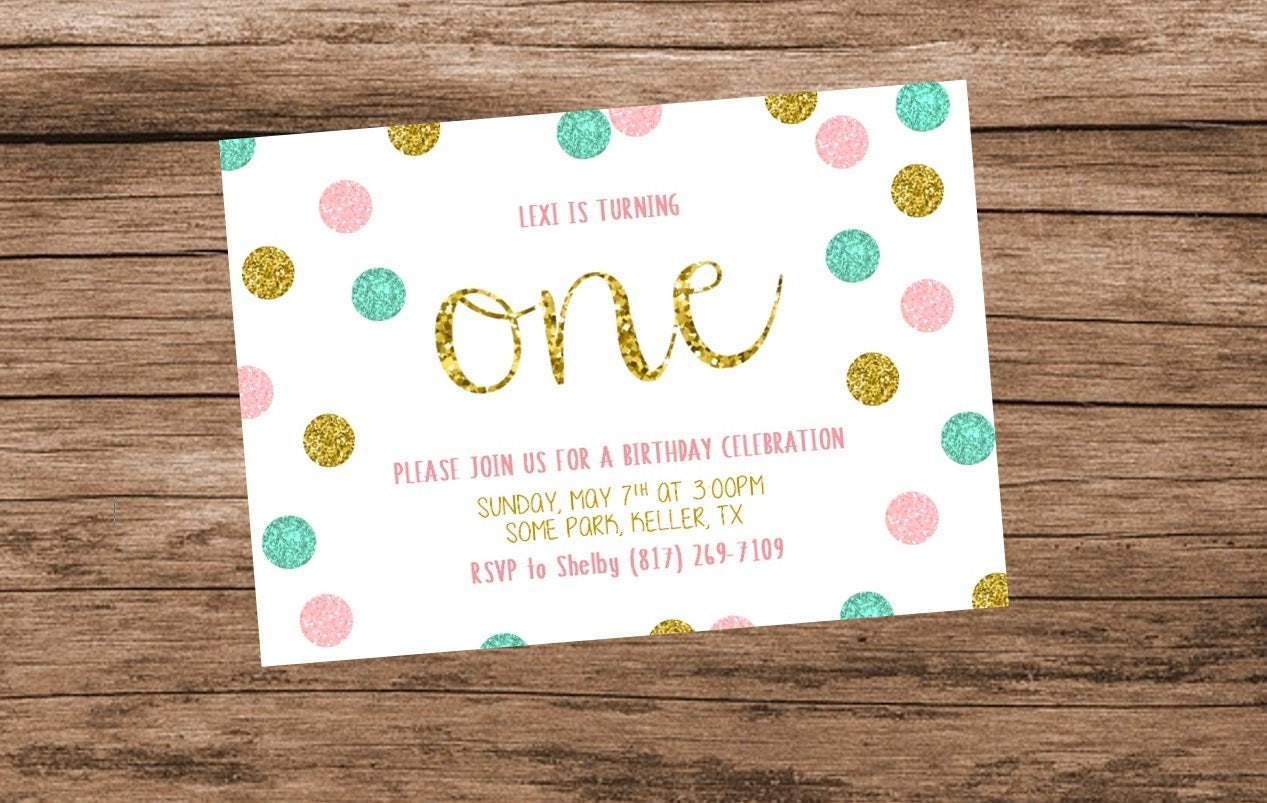 Pink and gold first birthday invitation pink gold and mint birthday pink and gold first birthday invitation pink gold and mint birthday pink and teal filmwisefo