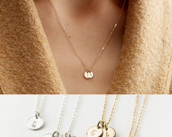 Custom Initial Necklace • Mothers Necklace with Dainty Custom Initials • Personalized Family, Kids Multi-Tag Initial Disk Necklace, LN206_V