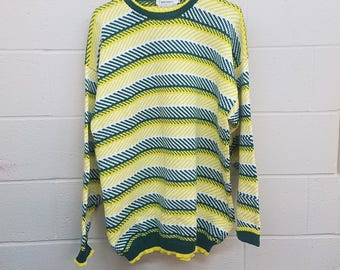 Vintage Striped Sweater  |  Size Large 100% Cotton Hand Knit Pullover |  Green and Yellow  |  Green Bay Packers  |  Bull's Eye Country Club