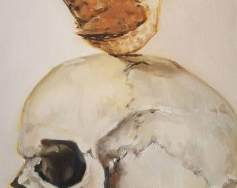 Human Skull with a Little Wren- Memento Mori- Original Still Life Oil Painting- Light White Macabre Minimalist Art- Bird and Bone