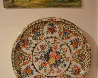 "Gorgeous vintage Daher floral tin metal decorative tray 16"" round"